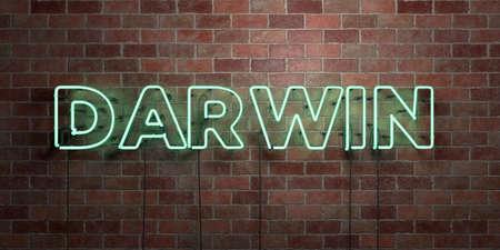 DARWIN- 형광 네온 튜브 brickwork 전면보기 - 3D 렌더링 된 로열티 프리 스톡 사진을. 온라인 배너 광고 및 다이렉트 메일러에 사용할 수 있습니다. 스톡 콘텐츠 - 73153544