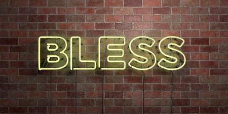 BLESS - fluorescent Neon tube Sign on brickwork - Front view - 3D rendered royalty free stock picture. Can be used for online banner ads and direct mailers.