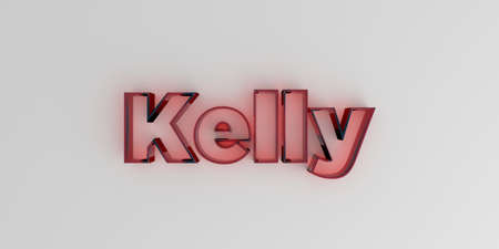 kelly: Kelly - Red glass text on white background - 3D rendered royalty free stock image. Stock Photo