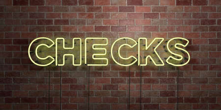 CHECKS - fluorescent Neon tube Sign on brickwork - Front view - 3D rendered royalty free stock picture. Can be used for online banner ads and direct mailers.