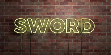 SWORD - fluorescent Neon tube Sign on brickwork - Front view - 3D rendered royalty free stock picture. Can be used for online banner ads and direct mailers. Stock Photo