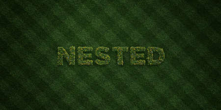 NESTED - fresh Grass letters with flowers and dandelions - 3D rendered royalty free stock image. Can be used for online banner ads and direct mailers.