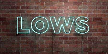 lows: LOWS - fluorescent Neon tube Sign on brickwork - Front view - 3D rendered royalty free stock picture. Can be used for online banner ads and direct mailers. Stock Photo