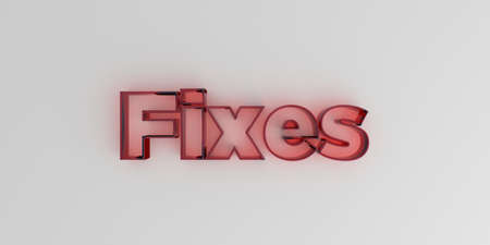 Fixes - Red glass text on white background - 3D rendered royalty free stock image.