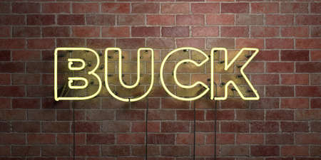 BUCK - fluorescent Neon tube Sign on brickwork - Front view - 3D rendered royalty free stock picture. Can be used for online banner ads and direct mailers. Stock Photo