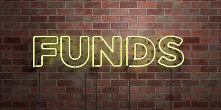 FUNDS - fluorescent Neon tube Sign on brickwork - Front view - 3D rendered royalty free stock picture. Can be used for online banner ads and direct mailers. Stock Photo