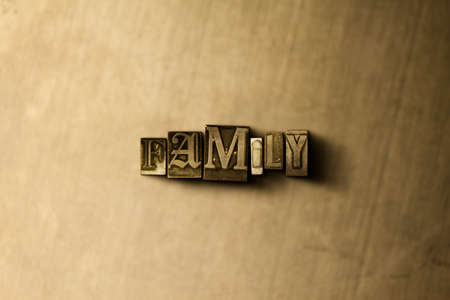 letterpress type: FAMILY - close-up of grungy vintage typeset word on metal backdrop. Royalty free stock illustration.  Can be used for online banner ads and direct mail. Stock Photo