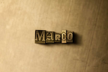 marco: MARCO - close-up of grungy vintage typeset word on metal backdrop. Royalty free stock illustration.  Can be used for online banner ads and direct mail.
