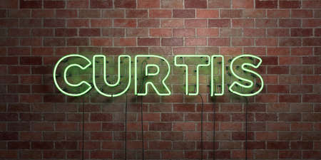curtis: CURTIS - fluorescent Neon tube Sign on brickwork - Front view - 3D rendered royalty free stock picture. Can be used for online banner ads and direct mailers. Stock Photo