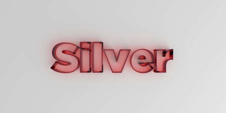 Silver - Red glass text on white background - 3D rendered royalty free stock image. Stock Photo
