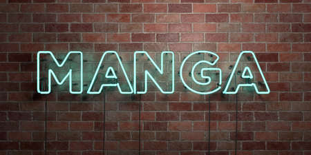 single word: MANGA - fluorescent Neon tube Sign on brickwork - Front view - 3D rendered royalty free stock picture. Can be used for online banner ads and direct mailers.