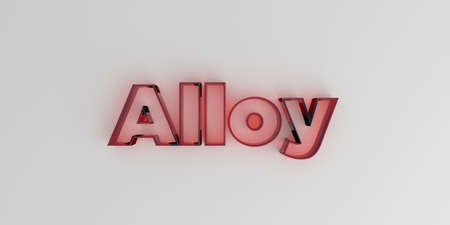 Alloy - Red glass text on white background - 3D rendered royalty free stock image.