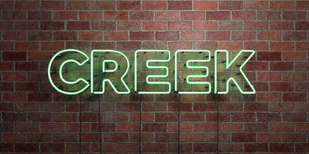 brook: CREEK - fluorescent Neon tube Sign on brickwork - Front view - 3D rendered royalty free stock picture. Can be used for online banner ads and direct mailers. Stock Photo