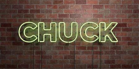 CHUCK - 형광 네온 튜브 brickwork 전면보기 - 3D 렌더링 된 로열티 프리 스톡 사진을. 온라인 배너 광고 및 다이렉트 메일러에 사용할 수 있습니다.