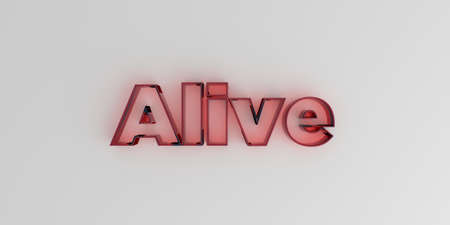 Alive - Red glass text on white background - 3D rendered royalty free stock image. Фото со стока