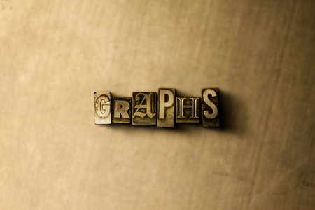 letterpress type: GRAPHS - close-up of grungy vintage typeset word on metal backdrop. Royalty free stock illustration.  Can be used for online banner ads and direct mail.
