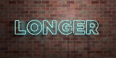 LONGER - fluorescent Neon tube Sign on brickwork - Front view - 3D rendered royalty free stock picture. Can be used for online banner ads and direct mailers.