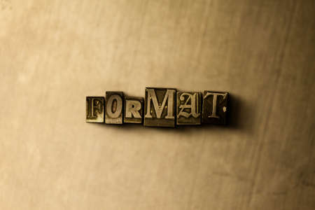 letterpress type: FORMAT - close-up of grungy vintage typeset word on metal backdrop. Royalty free stock illustration.  Can be used for online banner ads and direct mail. Stock Photo