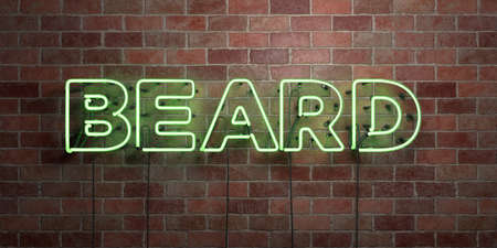 BEARD - fluorescent Neon tube Sign on brickwork - Front view - 3D rendered royalty free stock picture. Can be used for online banner ads and direct mailers.