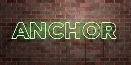 ANCHOR - fluorescent Neon tube Sign on brickwork - Front view - 3D rendered royalty free stock picture. Can be used for online banner ads and direct mailers.