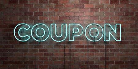 쿠폰 - 형광 네온 튜브 brickwork 전면보기 - 3D 렌더링 된 로열티 프리 스톡 사진을. 온라인 배너 광고 및 다이렉트 메일러에 사용할 수 있습니다. 스톡 콘텐츠 - 73153550