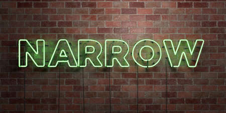 NARROW - fluorescent Neon tube Sign on brickwork - Front view - 3D rendered royalty free stock picture. Can be used for online banner ads and direct mailers.