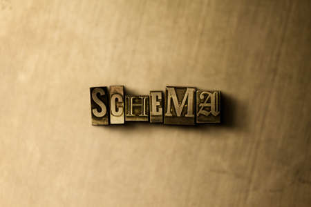 SCHEMA - close-up of grungy vintage typeset word on metal backdrop. Royalty free stock illustration.  Can be used for online banner ads and direct mail.