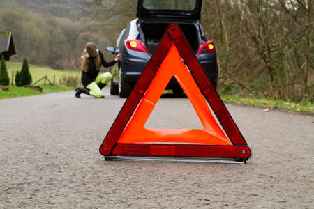 road safety: Flat tire Stock Photo