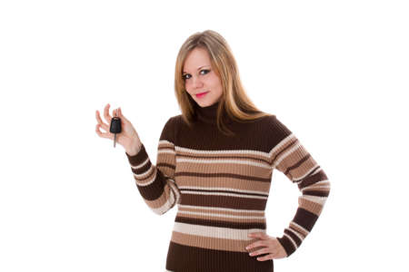 Frau mit autoschlüssel Standard-Bild - 30648112