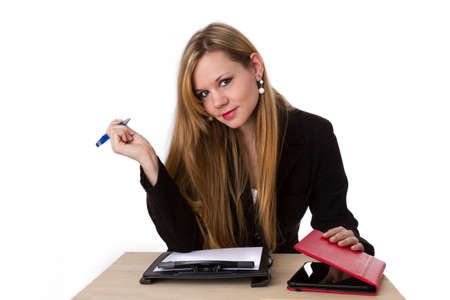 Woman with tablet and clipboard photo