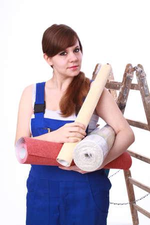 Junge Frau mit wallpaper Standard-Bild - 30652007