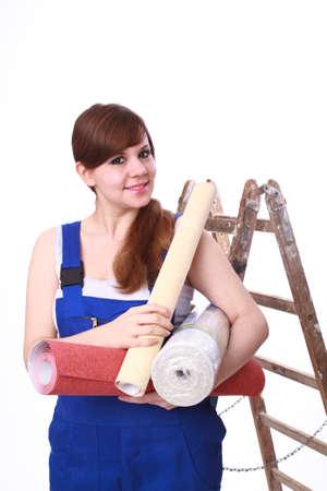 Junge Frau mit wallpaper Standard-Bild - 30652010