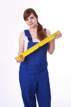 Frau mit Wasserwaage Standard-Bild - 30652029