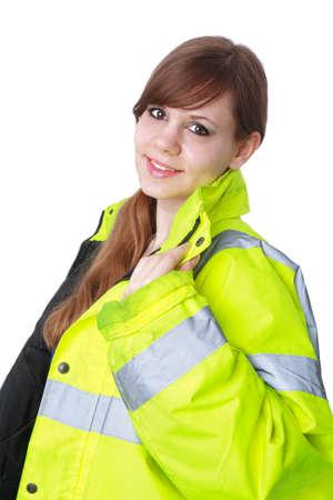 Junge Frau tragen reflektierende Jacke Standard-Bild - 30675778