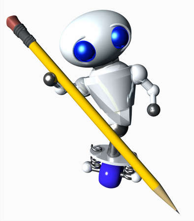 Cute little robot using a large yellow pencil. photo