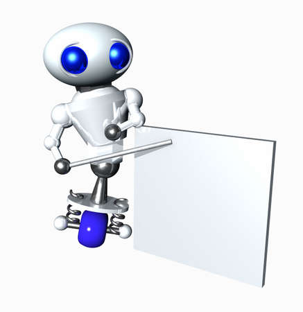 Cute little robot pointing to a blank chart. Blank area suitable to contain your message.  photo