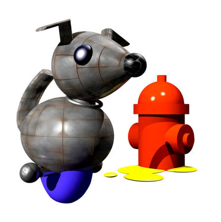 peeing: Cute little robot dog peeing on fire hydrant. Stock Photo