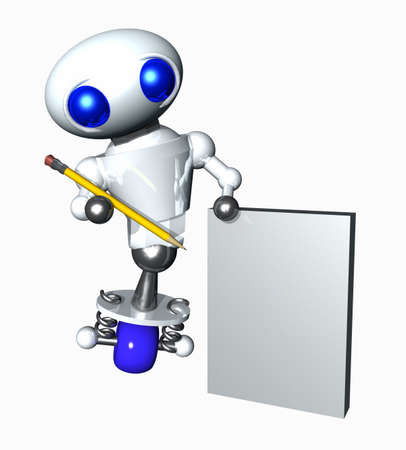 Cute little robot holding a pencil and blank paper. Blank paper suitable for your message photo