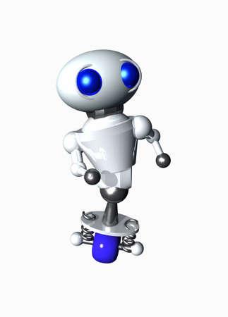 かわいい小さなロボットの距離で何かを探しています。 写真素材