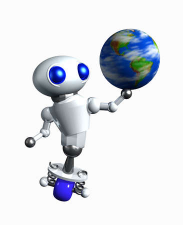Cute little robot spinning a globe on his hand. photo