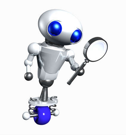 Cute little robot looking through a magnifying glass. photo