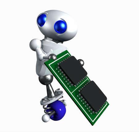 computing machine: Cute little robot taking a computer microchip. Stock Photo