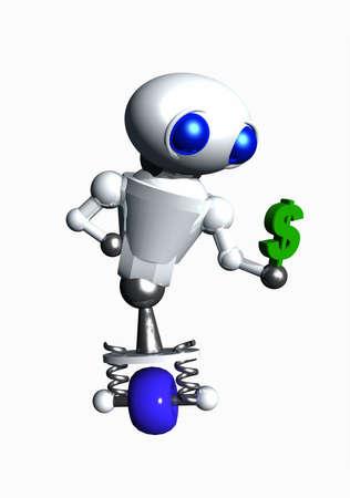Cute little robot holding a small green dollar sign. photo