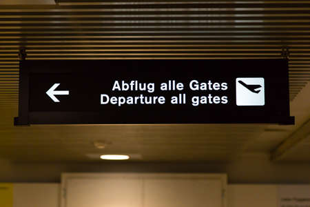 airport sign: Departure all gates airport sign at Zurich airport