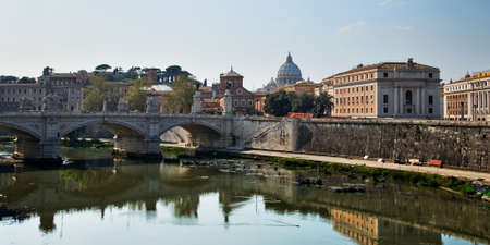 st  peter: view on Tiber and St Peter Basilica in Vatican Stock Photo