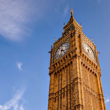 London Big Ben over blue sky as background Stock Photo
