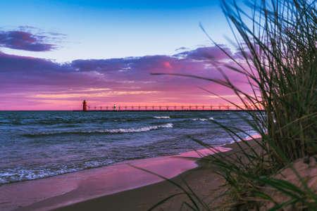 Landscape photography of the sun rising on Lake Michigan