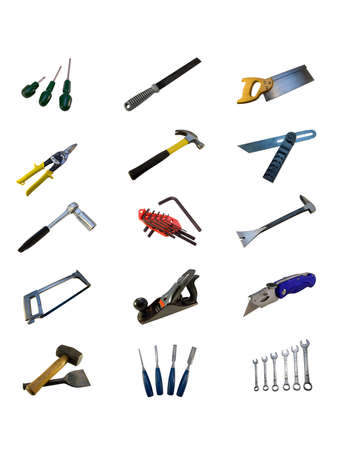 pry: Various hand tools isolated on a white background