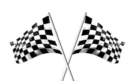 Rippled 흑백 체크 무늬 깃발