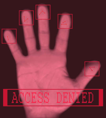 denied: Biometric palm scanning screen with access denied text
